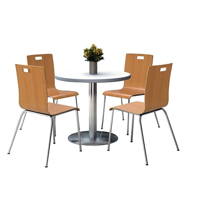 KFI 36 Round Crisp Linen HPL Table with 4 9222-Natural Chairs  (36RB922SCL9222N)