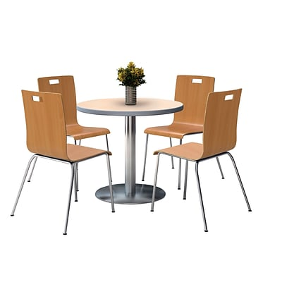 KFI 42 Round Natural HPL Table with 4 9222-Natural Chairs  (42RB922SNA9222N)