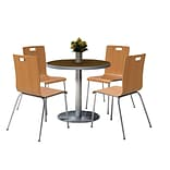 KFI 42 Round Walnut HPL Table with 4 9222-Natural Chairs  (42RB922SWL9222N)
