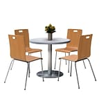 KFI 42 Round Grey Nebula HPL Table with 4 9222-Natural Chairs  (42RB922SGN9222N)