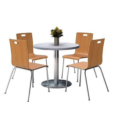 KFI 36 Round Grey Nebula HPL Table with 4 9222-Natural Chairs  (36RB922SGN9222N)