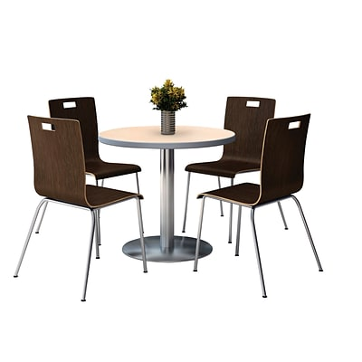 KFI 36 Round Natural HPL Table with 4 9222-Espresso Chairs  (36RB922SNA9222E)