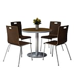 KFI 36 Round Walnut HPL Table with 4 9222-Espresso Chairs  (36RB922SWL9222E)