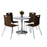 KFI 42 Round Grey Nebula HPL Table with 4 9222-Espresso Chairs  (42RB922SGN9222E)