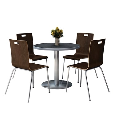 KFI 42 Round Graphite Nebula HPL Table with 4 9222-Espresso Chairs  (42RB922SGR9222E)