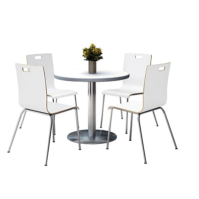 KFI 42 Round Crisp Linen HPL Table with 4 9222-White Chairs  (42RB922SCL9222W)