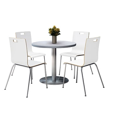 KFI 42 Round Grey Nebula HPL Table with 4 9222-White Chairs  (42RB922SGN9222W)