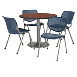 KFI 36 Round Mahogany HPL Table with 4 Navy KOOL Chairs  (36R192SMH230P03)