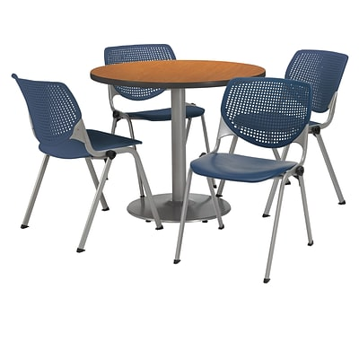 KFI 42 Round Medium Oak HPL Table with 4 Navy KOOL Chairs  (42R192SMO230P03)
