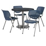 KFI 42 Round Graphite Nebula HPL Table with 4 Navy KOOL Chairs  (42R192SGR230P03)