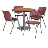 KFI 42 Round Medium Oak HPL Table with 4 Burgundy KOOL Chairs  (42R192SMO230P07)