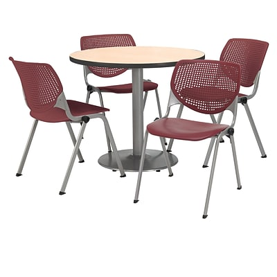 KFI 36 Round Natural HPL Table with 4 Burgundy KOOL Chairs  (36R192SNA230P07)