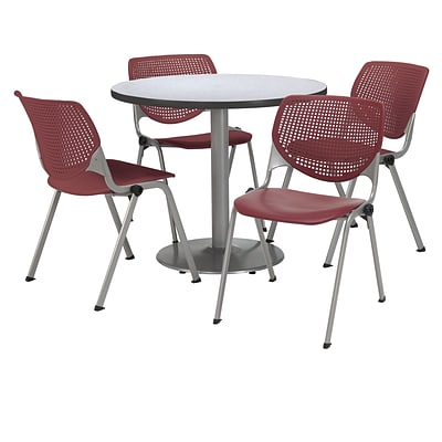KFI 42 Round Grey Nebula HPL Table with 4 Burgundy KOOL Chairs  (42R192SGN230P07)