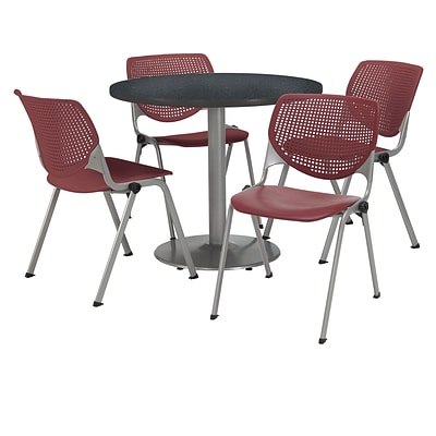 KFI 36 Round Graphite Nebula HPL Table with 4 Burgundy KOOL Chairs  (36R192SGR230P07)