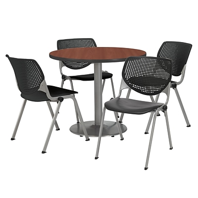 KFI 42 Round Mahogany HPL Table with 4 Black KOOL Chairs  (42R192SMH230P10)