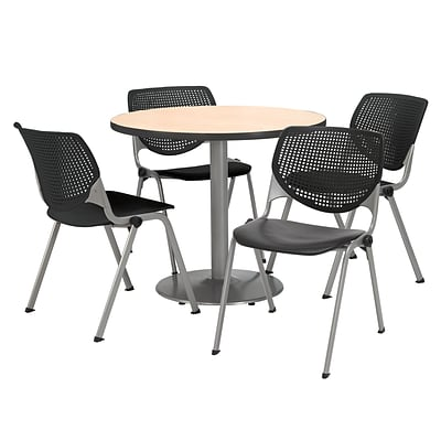 KFI 36 Round Natural HPL Table with 4 Black KOOL Chairs  (36R192SNA230P10)