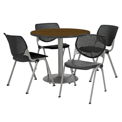 KFI 36 Round Walnut HPL Table with 4 Black KOOL Chairs  (36R192SWL230P10)