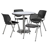 KFI 36 Round Grey Nebula HPL Table with 4 Black KOOL Chairs  (36R192SGN230P10)