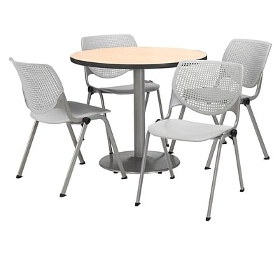 KFI 42 Round Natural HPL Table with 4 Light Grey KOOL Chairs  (42R192SNA230P13)