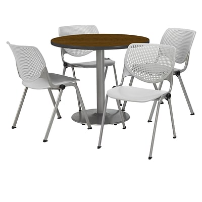 KFI 36 Round Walnut HPL Table with 4 Light Grey KOOL Chairs  (36R192SWL230P13)