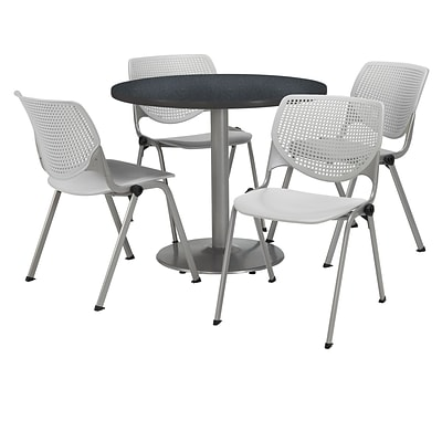 KFI 42 Round Graphite Nebula HPL Table with 4 Light Grey KOOL Chairs  (42R192SGR230P13)