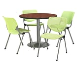 KFI 36 Round Mahogany HPL Table with 4 Lime Green KOOL Chairs  (36R192SMH230P14)
