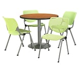 KFI 36 Round Medium Oak HPL Table with 4 Lime Green KOOL Chairs  (36R192SMO230P14)