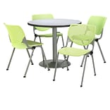 KFI 42 Round Grey Nebula HPL Table with 4 Lime Green KOOL Chairs  (42R192SGN230P14)