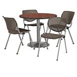KFI 42 Round Mahogany HPL Table with 4 Brownstone KOOL Chairs  (42R192SMH230P18)