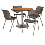 KFI 36 Round Medium Oak HPL Table with 4 Brownstone KOOL Chairs  (36R192SMO230P18)