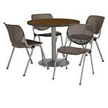 KFI 42 Round Walnut HPL Table with 4 Brownstone KOOL Chairs  (42R192SWL230P18)