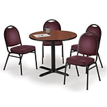 KFI 42 Round Mahogany HPL Table with 4 Burgundy Vinyl Stack Chairs (42R025MHIM52BGV)