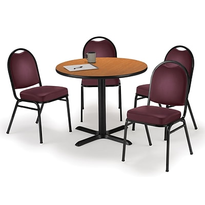 KFI 36 Round Medium Oak HPL Table with 4 Burgundy Vinyl Stack Chairs (36R025MOIM52BGV)