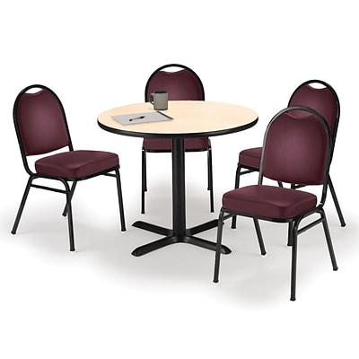 KFI 42 Round Natural HPL Table with 4 Burgundy Vinyl Stack Chairs (42R025NAIM52BGV)