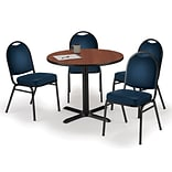 KFI 36 Round Mahogany HPL Table with 4 Navy Vinyl Stack Chairs (36R025MHIM520NV)