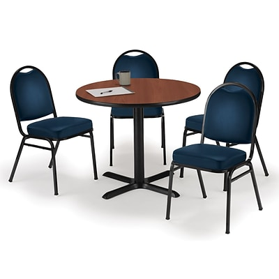 KFI 42 Round Mahogany HPL Table with 4 Navy Vinyl Stack Chairs (42R025MHIM52NYV)