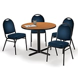 KFI 42 Round Medium Oak HPL Table with 4 Navy Vinyl Stack Chairs (42R025MOIM52NYV)