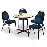 KFI 36 Round Natural HPL Table with 4 Navy Vinyl Stack Chairs (36R025NAIM520NV)