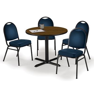 KFI 36 Round Walnut HPL Table with 4 Navy Vinyl Stack Chairs (36R025WLIM520NV)