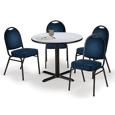 KFI 36 Round Grey Nebula HPL Table with 4 Navy Vinyl Stack Chairs (36R025GNIM520NV)