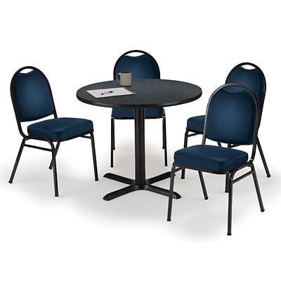 KFI 36 Round Graphite Nebula HPL Table with 4 Navy Vinyl Stack Chairs (36R025GRIM520NV)