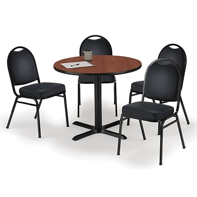 KFI 42 Round Mahogany HPL Table with 4 Black Vinyl Stack Chairs (42R025MHIM52BKV)