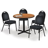 KFI 42 Round Medium Oak HPL Table with 4 Black Vinyl Stack Chairs (42R025MOIM52BKV)