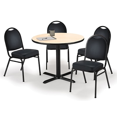 KFI 36 Round Natural HPL Table with 4 Black Vinyl Stack Chairs (36R025NAIM52BKV)