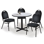 KFI 42 Round Grey Nebula HPL Table with 4 Black Vinyl Stack Chairs (42R025GNIM52BKV)