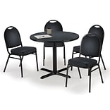 KFI 36 Round Graphite Nebula HPL Table with 4 Black Vinyl Stack Chairs (36R025GRIM52BKV)