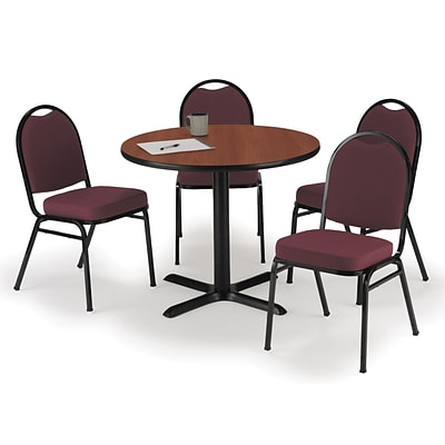 KFI 36 Round Mahogany HPL Table with 4 Burgundy Fabric Stack Chairs (36R025MHIM52BGF)