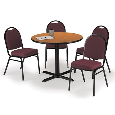 KFI 42 Round Medium Oak HPL Table with 4 Burgundy Fabric Stack Chairs (42R025MOIM52BGF)