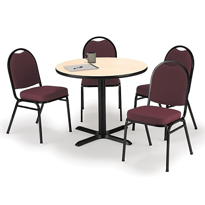 KFI 42 Round Natural HPL Table with 4 Burgundy Fabric Stack Chairs (42R025NAIM52BGF)