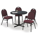 KFI 36 Round Graphite Nebula HPL Table with 4 Burgundy Fabric Stack Chairs (36R025GRIM52BGF)